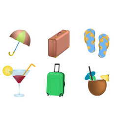 Set of summer vacation objects vector