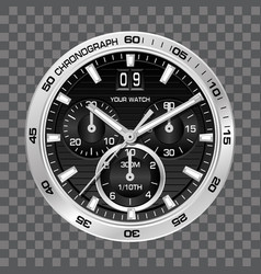 Silver watch clock chronograph face luxury vector
