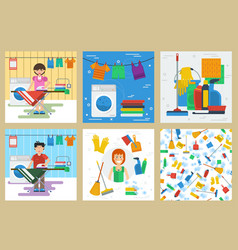 six concept for cleaning service vector image