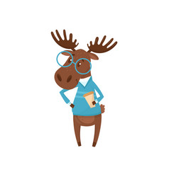 smart moose with cup of coffee in paw funny vector image
