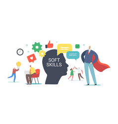 soft skills in business concept tiny male female vector image