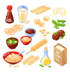soya products food set vector image