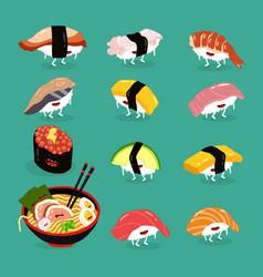 sushi ramen funny cute set vector image