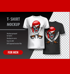 T-shirt template fully editable with pirate eps vector