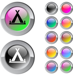 Tent multicolor round button vector