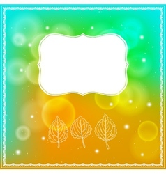 Three leaves and frame on bokeh background vector image