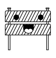 traffic fence flat icon monochrome kawaii vector image