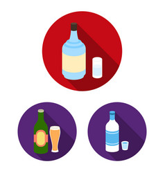 types of alcohol flat icons in set collection for vector image