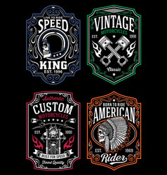 Vintage motorcycle t-shirt graphic collection vector