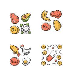 Vitamins color icons set b5 b6 b12 natural food vector