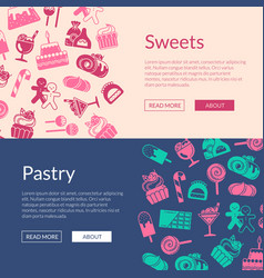 web banner template style sweets icons vector image