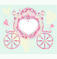 Wedding carriage heart shaped decorated with roses vector