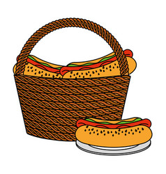 Wicker basket hot dogs vector