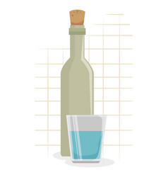 wine bottle with cup icon vector image