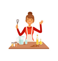 Young woman with whisk baking housewife girl vector