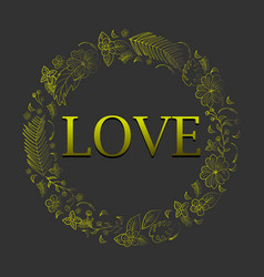 abstract gold romantic floral and tropical frame vector image