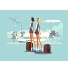 Beautiful flight attendants vector image