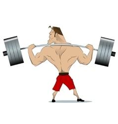 Bodybuilder raises barbell vector image vector image