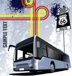 bus with background vector image vector image