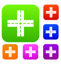 crossing road set collection vector image