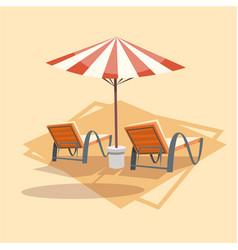 lungers under umbrella icon summer sea vacation vector image vector image