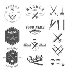 Set of vintage barber shop design elements vector image vector image