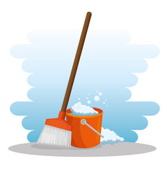 cleaning supplies with bucket and broom vector image