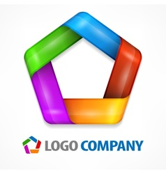 Color pentagon on white vector