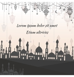 Greeting card ethnic with silhouette of a mosque vector image