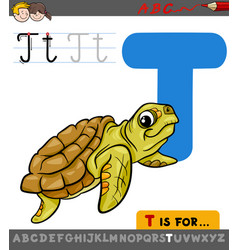 letter t with cartoon turtle animal vector image