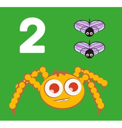 Number 2 - Spider with two small flies vector image vector image