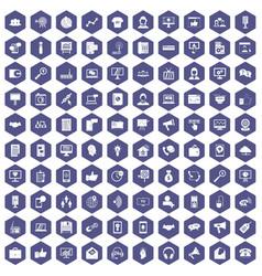 100 help desk icons hexagon purple vector image vector image