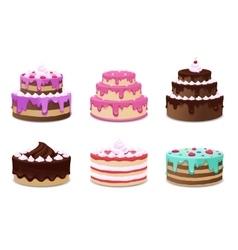 Cakes set Icons on white background vector image