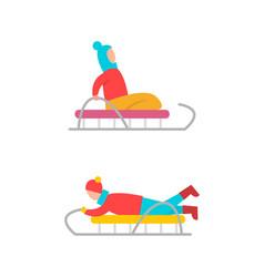 children on sled winter fun vector image