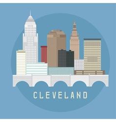 Cleveland Ohio Usa flat design of skyline vector image vector image
