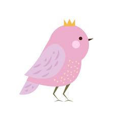 cute kawaii purple bird in crown seasonal vector image vector image