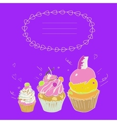 depicting three cakes and a framework vector image