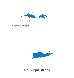 Detailed map of US Virgin Islands and capital city vector image