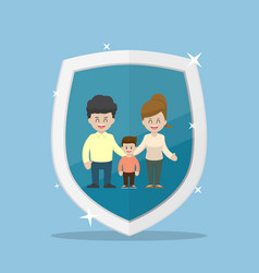 family character inside the insurance shield vector image