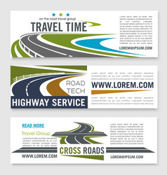 road travel and highway service banner template vector image vector image