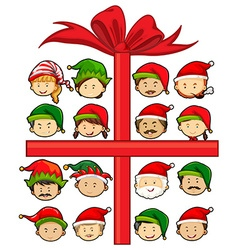 Christmas theme with Santa and elves vector image