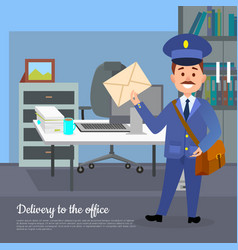 delivery to the office web banner world transfer vector image