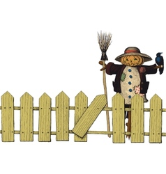 fence and a scarecrow vector image vector image