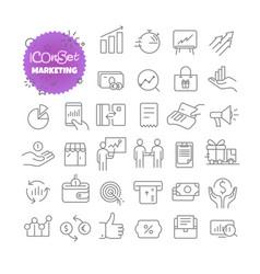 outline icon set pictogram set marketing vector image