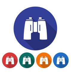 round icon of binoculars flat style with long vector image