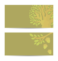 set of banners with oak tree and acorns vector image vector image