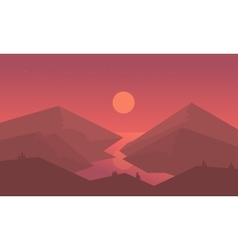 Silhouette of mountain and river vector image vector image