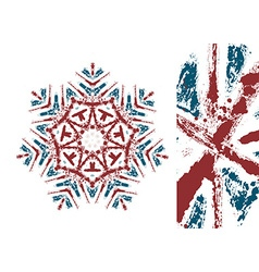 snowflake styled with Union Jack flag colors vector image