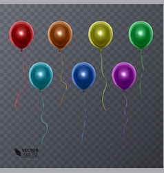 3d realistic colorful balloons on transparent vector image