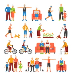Active Old People Set vector